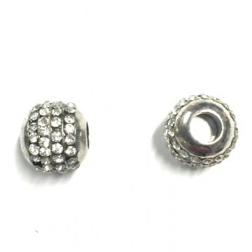 Rhinestone ball magnetic clasp - rhodium plated 14mm x 16mm - 6mm inside